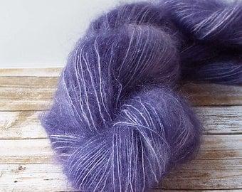Hand Dyed Mohair Yarn, Brushed Mohair Yarn, Hand Painted Yarn, Lace Yarn, Fuzzy Yarn, Knitting Yarn, Baby Prop Yarn,  Deep Lilac