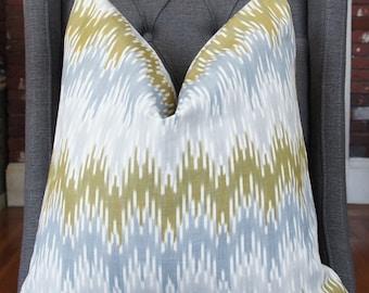 Olive Green Ikat Pillow, Grayish Blue, Geometric Pillow Cover, Decorative Pillow, Designer Pillow,Throw Pillow, Toss Pillow, Home Furnishing