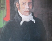 Jonathan Fisher, SELF-PORTRAIT, 10 x 10.5 in. 1980 Reproduction Book Page Print of a 1838 American Folk Art Painting