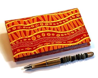 Orange  Checkbook Cover for Duplicate Checks with Pen Holder - Bright Waves Cotton Fabric
