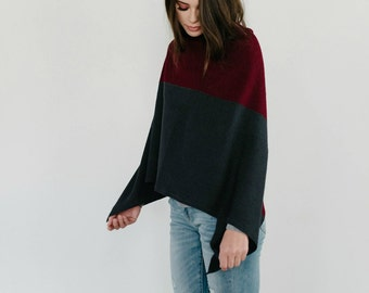 Burgundy and Grey Wool Poncho