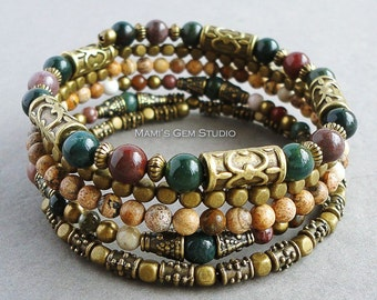 Boho Gypsy Bracelet, Wrap Around Bracelet, Beaded Memory Wire Bracelet, Bloodstone, Jasper, Antique Brass, Green Pink Brown