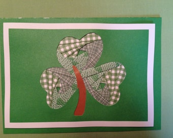 """Shamrock, Note card, hand crafted, 5x7"""", inside blank, Iris Paper Folding technique"""