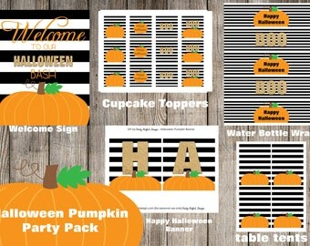 Instant Download Halloween Pumpkin Party Pack - Print Your Own