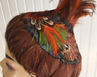 ANTIQUE FEATHER Volcano HAT by Walter King, Autumn Palette, Orange, Greens, Browns, Etc. at A Vintage Revolution