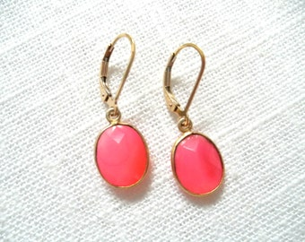 Pink Chalcedony earrings - gold earrings - pink and gold - pink earrings -E A R R I N G S