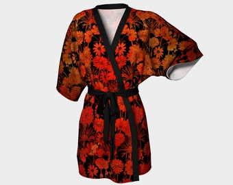 Fireflower ( Flower pattern with watercolor backgrund) - Kimono Robe - Death's Amore Clothing