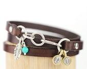 Leather Wrap Bracelet, Teeny Initial Bracelet, Feather Charm Bracelet, Charm Bracelet, Leather Bracelet, Turquoise gemstone