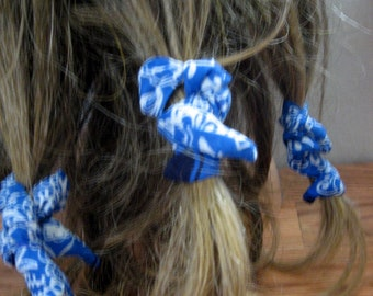 Dread Wraps, Blue Bandana Print,Ponytail Holders, Dread Accessories, Wired Dread Holders, PonyTail Twists, Boho Hair Accessories, Set of 5