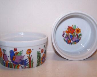 Royal Crown, Paradise Design, Ramekin Small Bowl, Birds and Flowers, Acapulco Style, Mid Century Modern, Bird Design, Floral Design, Vintage