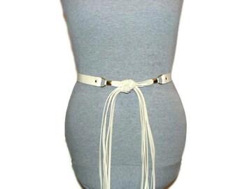 Vintage Taupe Fringe Tie Belt Vegan Leather Belt Faux Leather Belts Non Leather Belts Vintage Womens Belts Taupe Belts For Women
