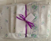 Vintage Remixed Full sheet set in pretty purples / full flat sheet / full fitted sheet / vintage pillowcases