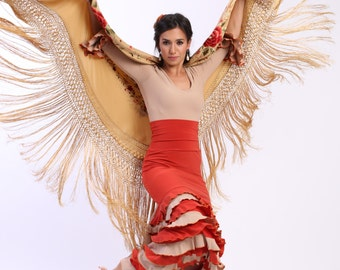 NEW *** MAYA flamenco skirt , flamencita design. Tribal fusion skirt.