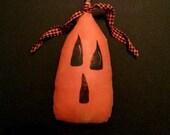 Primitive Pumpkin Halloween Jack O'Lantern-Painted Fabric