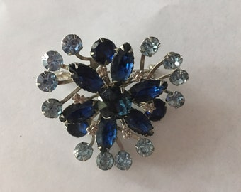 Vintage Blue Rhinestone Flower Pin 1960s