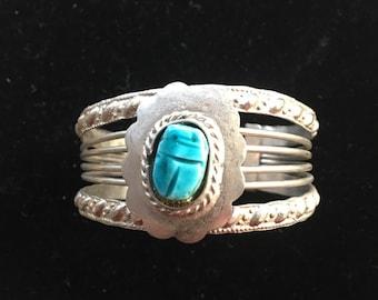 Vintage Chunky Silver Blue Scarab Bracelet