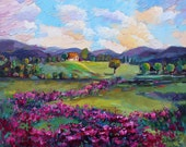 Giclee Print of oil painting landscape of California-field of flowers-texture art-palette knife painting