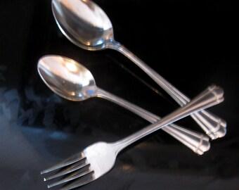 Vintage Flatware Salad Fork Soup Spoon and Teaspoon Romance Farberware Set of Three