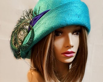 Gabby 1920's Flapper Cloche. womens parasisal straw hat in Turq with Peacock feathers