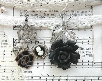 black rose mismatch cameo earrings assemblage heart lock