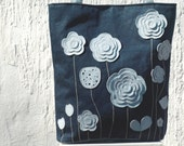 Denim leather canvas tote,  floral Tote, womens summer tote,  Market Tote, boho tote bag, spring tote, women handbag, mothers day gif for he