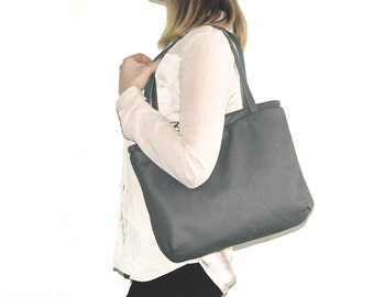 Minimalist shoulder bag, womens work purse, leather LAPTOPTOTE bag, grey leather handbag, womens office leather bag, spring fashion