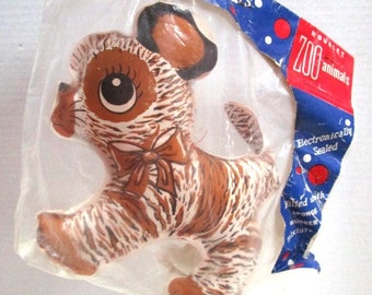 Vintage Mousley Zoo Animals Toy, Stripes Dog Tiger Washable Floating Stuffed Animal, NIB, New Old Never Opened, Original packaging