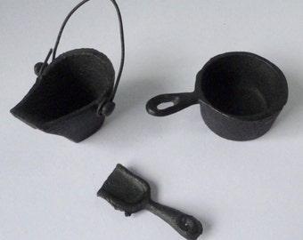 Antique Cast Iron Miniature Bucket, Scoop and Pan. 3 pieces.