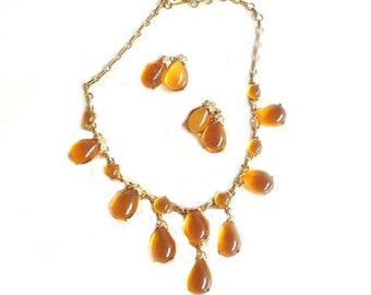 Vintage Necklace and Earring Set, Vintage Jewelry Set, Demi Parure Set, Amber Rhinestone Necklace, Dressy Jewelry, Formal Jewelry