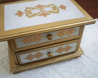 Vintage Collectible Music Box Jewelry Box Wood Florentine Hand Painted