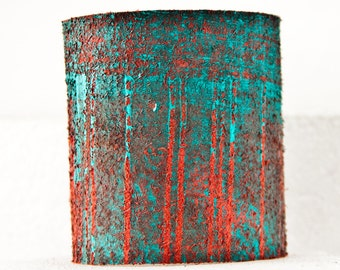 Turquoise Bracelet Teal Cuffs Jewelry - Top Trends Painted Leather
