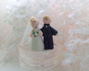 Custom made polymer clay Miniature Bride and Groom  Wedding Cupcake Topper