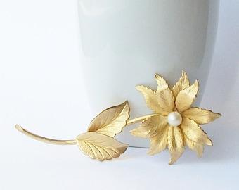 Vintage Long Flower Pearl Brooch, Flower Pearl Brooch, Vintage Pearl Jewelry