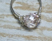 Crystal Ring Jewelry, Sterling Silver, Lavender Fire Polished