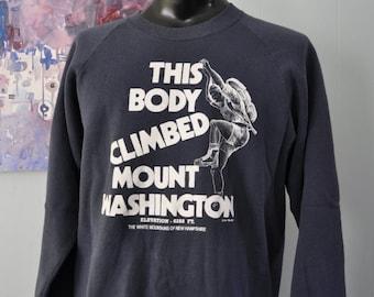 1991 Vintage Sweatshirt Mt Washington I Climbed This Body Mount NH Hiking Navy Blue Mountains trees Nature Skiing Winter XL