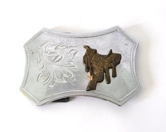 Vintage Belt Buckle Unisex Horse Equestrian Saddle Cowboy Cowgirl Flowers Design ornate paisley