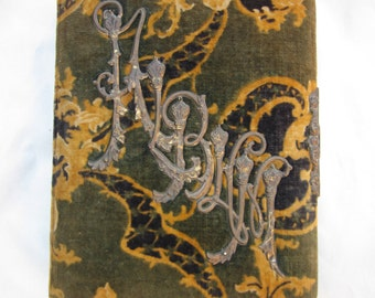 Antique Green Gold Velvet Photo Album with Ornate Metal Decoration on Front No Photos