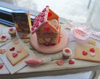 Dollhouse miniature Valentine cookie house