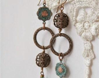 Engraved Chinese Earrings, Chandelier earrings, Peace earrings, Asymmetric earrings, Patina earrings