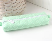 Mint Green Pencil Case Boxy Pouch Mint Polka Dot Print Mint Pencil Pouch