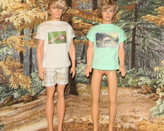 K3PC-01) Ken doll clothes, 1 shorts and 2 printed T-shirts