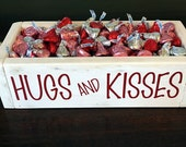 "Reclaimed wood ""Hugs & Kisses"" crate"