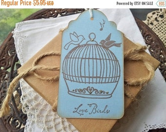SALE Wedding Tags Birdcage Love Birds Wish Tags Bridal Shower Favor Tags Set of 6