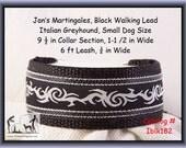 "Jan's Martingales, Black Collar Leash Combination Walking Lead,  Italian Greyhound, Small Dog Size, 9 1/2"" Collar Section, Iblk182"