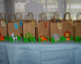 jungle animal favor bags, zoo bags, children favor bags, birthday bags, baby shower bags