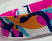 Lilly Pulitzer Fabric Dog Collar Boy Girl Pink Blue Besame Mucho
