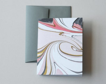 Marbled Notecard in Pink and Slate