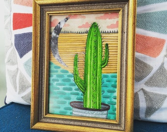 Cactus, Sand, Moon, Clouds and Sky // Original Watercolor Painting/Collage 5 X 7 // Framed