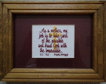 As a Mother - Burgandy - Inspirational Cross Stitch Picture - Wall Decor