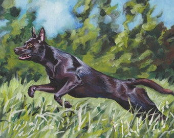 AUSTRALIAN KELPIE dog portrait art canvas PRINT of LAShepard painting 11x14""